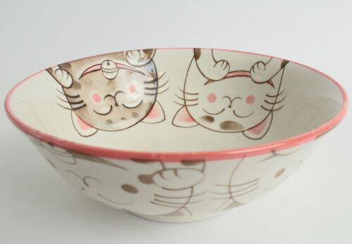 Mino ware Japanese Ceramics Ramen Noodle Donburi Bowl Smiling Cats Pink