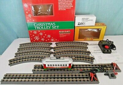 MTH RailKing Christmas TROLLEY TRAIN SET w/ 4pc extra Straight & 2 Track Bumpers