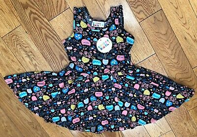 NWT Dot Dot Smile Twirly Summer dress Girls Tank flower pots Black   - Black Girl Dresses