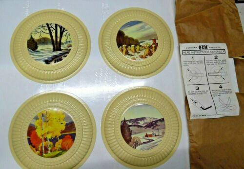 """4 Vintage decorative flue cover set NOS Gem No3 Flue Stop 8"""" Country farm scenes"""