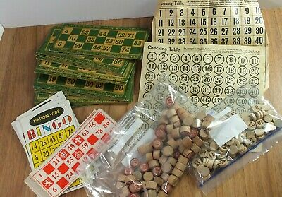Vintage Bingo - Cards / Wooden Numbers Markers & Checking Tables
