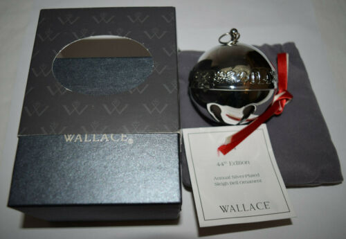 Wallace Annual Silver Plate Sleigh Bell Ornament 2014 Used Bad Sleeve/Box