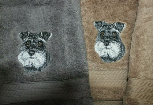 Schnauzer Dog Breed Cute Bathroom SET OF 2 HAND TOWELS EMBROIDERED
