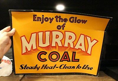 Vintage Rare Murray Coal Cardboard Sign Advertising Home Decor Stove Fire place - Cardboard Fireplace Decoration