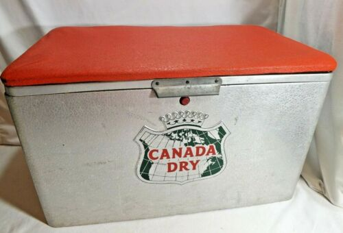 Canada Dry Vintage ALUMINUM COOLER Cronstroms Drink Ice Chest Red Cushion Lid