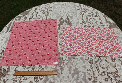 2 Genuine Vintage American Floral Cotton Feedsack Fabrics-Materials c1930s-1940s
