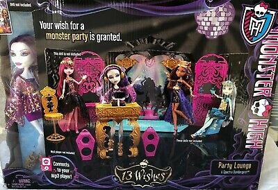 Monster High 13 Wishes PARTY LOUNGE Room SPECTRA Doll Set IPOD Dock mp3 Speaker