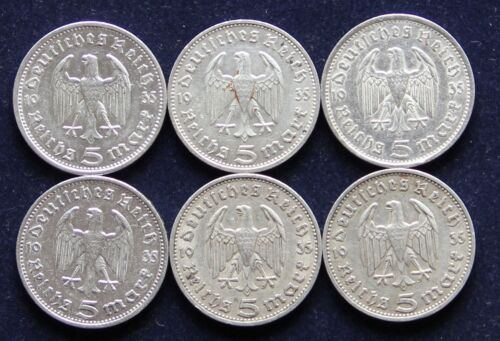 WWII German Third Reich 1935 Hindenburg 5 Reichsmark Silver A, D, E, F, G, J