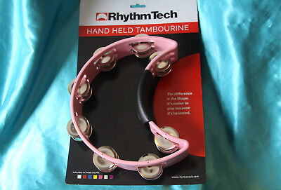 Sale  Rhythm Tech Half Moon Hand Held Tambourine  For The Cure   Pink  Rt1060