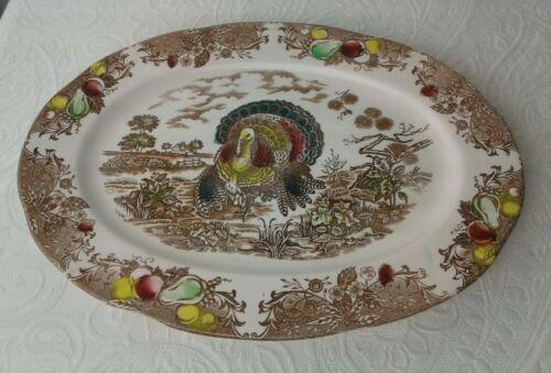 Rare Vintage Auth 1940's Fred Roberts Co. Thanksgiving Turkey Platter, Japan EUC