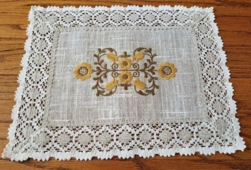 SET OF 6 Ubelhor Austrian Linen Table Placements Tan Stitched Floral Yellow