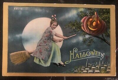 1911 Providence RI Usa Picture Postcard PPC Cover Halloween Little Witch