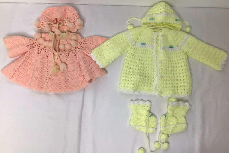 Vintage Hand Knit Baby Sweaters with hats Set Of 2 Lt Yellow & Pink