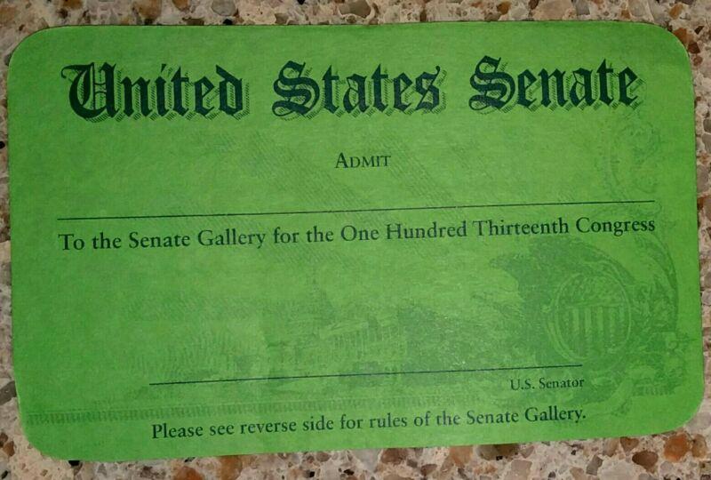 US Senate Gallery Pass - 113th Congress