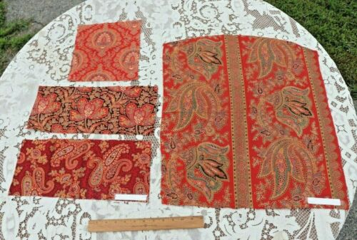 4 Large Pieces Of Antique French Turkey Red Sample Fabrics~Design