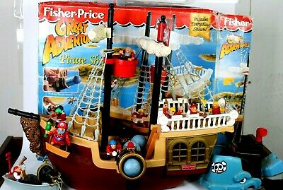 1st Release Fisher Price PIRATE SHIP 1994 Great Adventures 100% COMPLETE + EXTRA