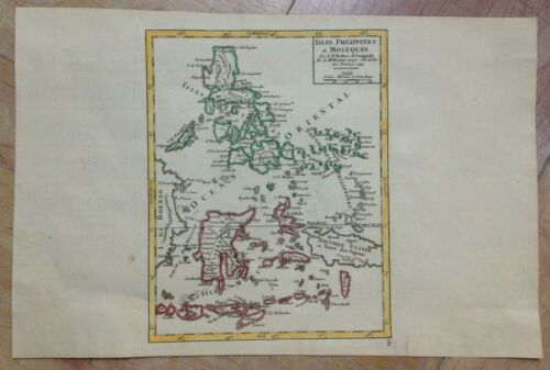 PHILIPPINES MOLUCCA 1749 ROBERT DE VAUGONDY ANTIQUE MAP IN COLORS 18TH CENTURY