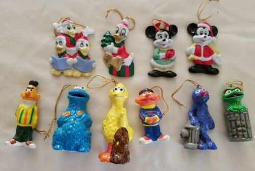 Vintage Ceramic Christmas Walt Disney & Sesame Street Figures Ornaments 10 Lot