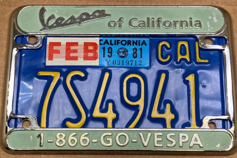 RARE  VESPA OF CALIFORNIA LICENSE PLATE FRAME Only