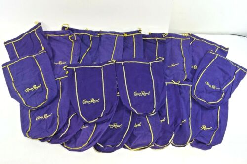 Lot of 20 Crown Royal 1.75L Large Purple & Gold Drawstring Bags - 12 inch