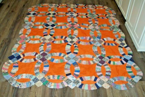 Vintage Feed Sack Print Orange Double Wedding Ring Quilt Top