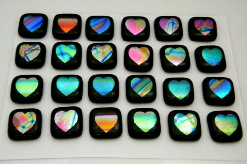 ETCHED HEART Lot 24 pcs DICHROIC FUSED GLASS pendant (Y4) CABOCHON HANDMADE
