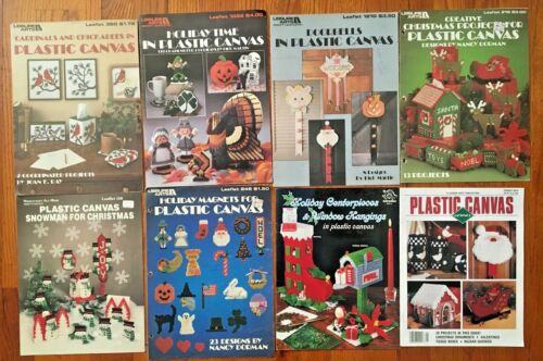 Lot of 8 Christmas Holiday Plastic Canvas Booklets Patterns - Leisure Arts