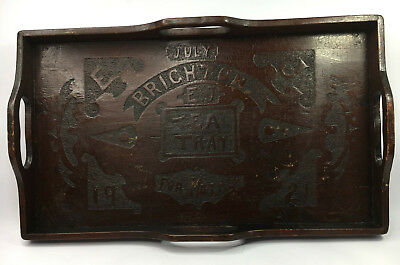 ANTIQUE CARVED WOODEN TEA SERVING TRAY BRIGHTON JULY 1921 FOR MOTHER INITIALS EJ