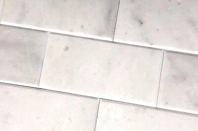 Carrara White 4x8 Polished Beveled Marble Tile Wall Backsplash Kitchen Bath