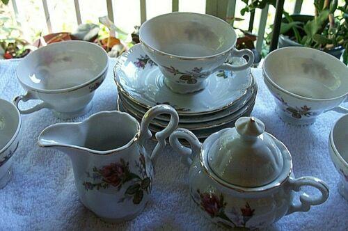 Vintage Moss Rose China Tea Set  includes 5 Tea Cups-Saucer Sugar Creamer