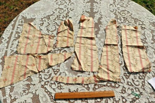Lot Of 19thC Pink Floral Silk Scraps For Dolls Or Projects