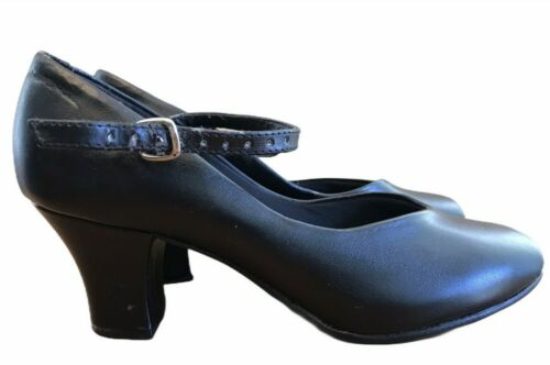 So Danca Ladies Size 6.5 M Dance Shoes Black Ballroom Heels Ankle Strap Vintage