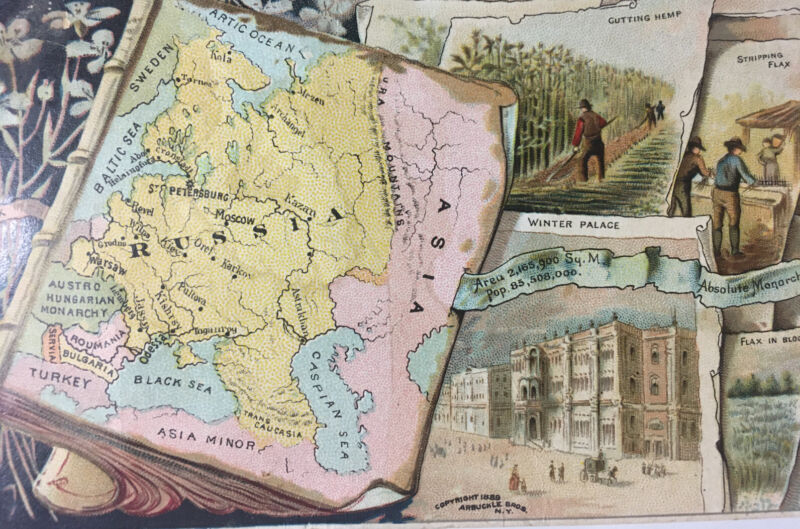 Arbuckle Coffee Victorian Trade Card 1889 Russia Map Flax Asia