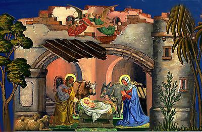 Große Weihnachtskrippe mit Weihnachtsgrotte und über 80 Figuren Reprint von 1835