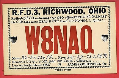 RICHWOOD OHIO QSL AMATEUR HAM RADIO W8NAQ JAMES GORENFLO 1935 POSTCARD