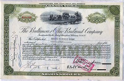 Baltimore & Ohio Railroad Company Stock Certificate B&O CSX
