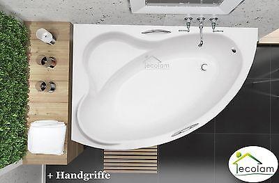 Badewanne Wanne Eckwanne Acryl 140 x 90 cm Füße Ablauf + Handgriffe links