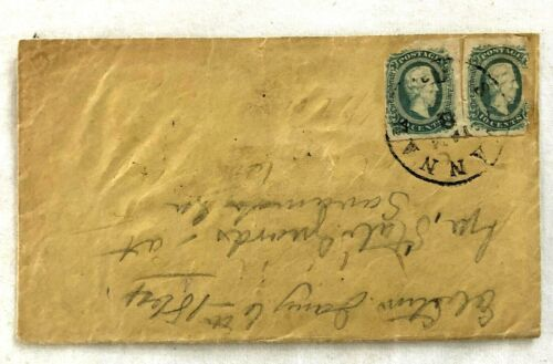 Civil War CSA Pair of 10 Cent Postage Stamps on Twice Turned Cover
