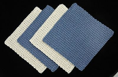 4 100% USA Cotton Hand Crochet Dishcloths Eco-Friendly Washcloths - BLUE & ECRU