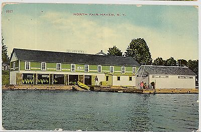 1911 Boat House at North Satisfactory Haven New York NY postcard view
