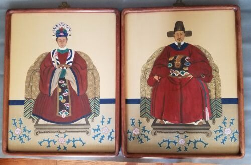 Pair of Asian Chinese watercolor on silk of ancestor portraits 27""