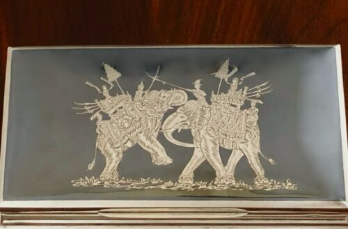 - THAI / SIAMESE STERLING SILVER & NIELLO CIGARETTE BOX ELEPHANTS  NO MONOGRAM