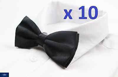 MENS BULK 10 x PACK PLAIN BOW TIE PRE-TIED MEN'S GROOMSMAN WEDDING FORMAL TIES ()