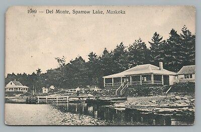 Del Monte MUSKOKA Sparrow Lake—Ontario—Rare Antique  HW Wiancko Boat Dock 1912
