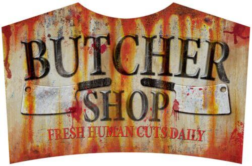 Halloween Butcher Shop Tin Sign Fresh Human Cuts Daily New Creepy Bloody