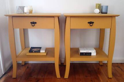 Bedside tables, side tables, upcycled, painted, mustard, yellow