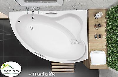 Badewanne Wanne Eckwanne Acryl 160 x 100 cm Füße Ablauf + Handgriffe rechts