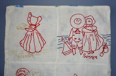 VINTAGE SUNBONNET SUE & SAM EMBROIDERED DOLL QUILT RED WORK TOY BED COVER AAFA