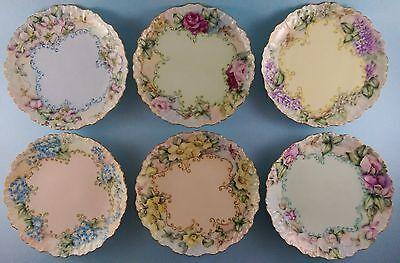 6 Limoges France UNIQUE Floral ART Dessert Salad Plates Hand Painted Signed