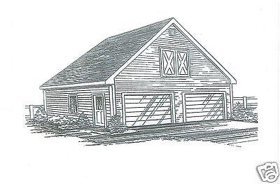 24 x 24 2 Car FG Garage Building Blueprint Plans w/ Storage Attic & 9 Pitch Roof